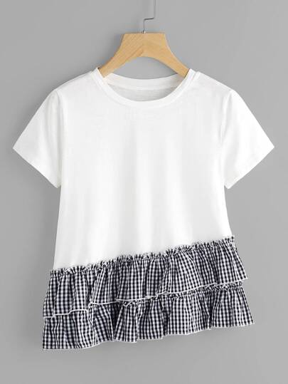 Layered Gingham Ruffle Trim Slub T-shirt