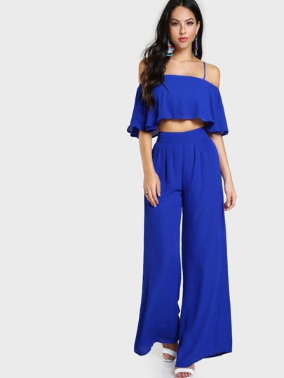 Cold Shoulder Flowy Crop & Matching Pant Set ROYAL