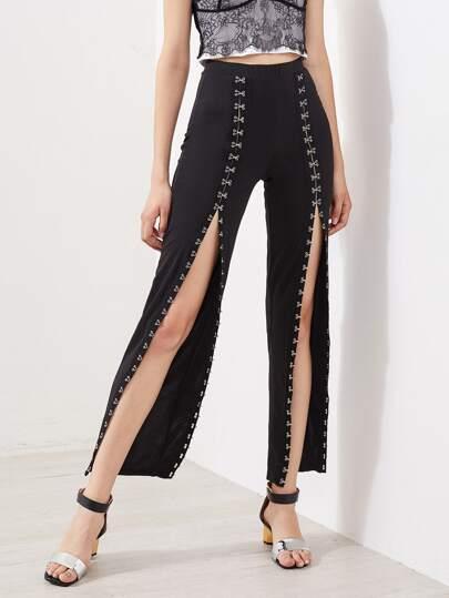 Pantaloni con spacco sul davanti