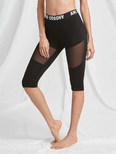 Printed Waistband Mesh Insert Legging Shorts