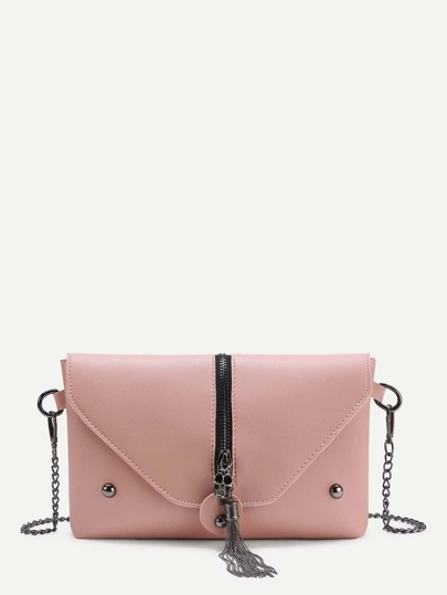 Skeleton And Tassel Detail Flap Crossbody Bag
