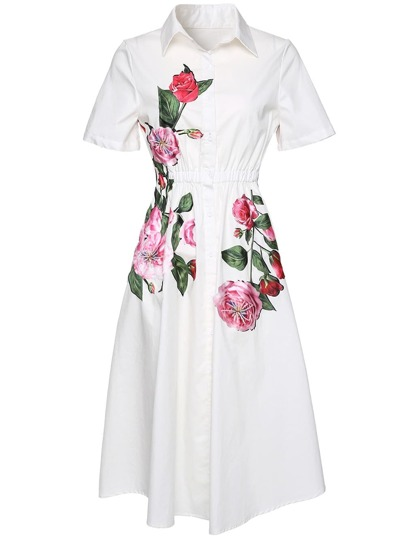 Rose Print Elastic-Waist Dress