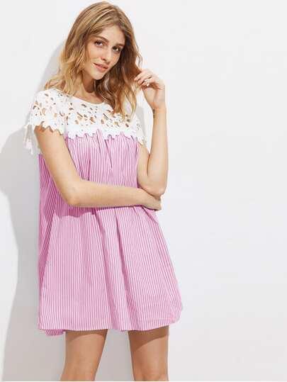 Contrast Floral Crochet Yoke Striped Dress