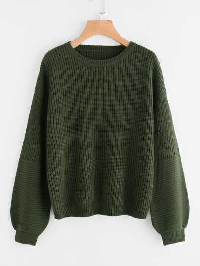 Pullover mit sehr tief angesetzter Schulterpartie und Puffärmeln