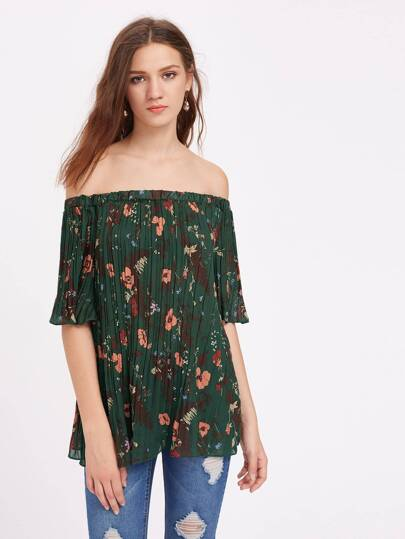 Bardot Random Florals Pleated Top
