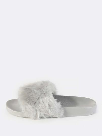 Fuzzy Faux Fur Slides GREY