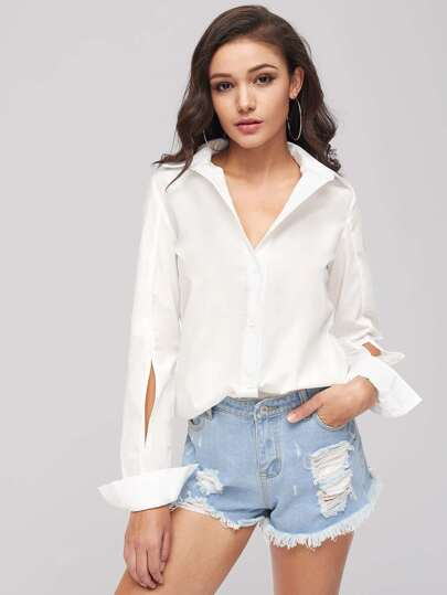 Cut Out Sleeve Shirt Dress