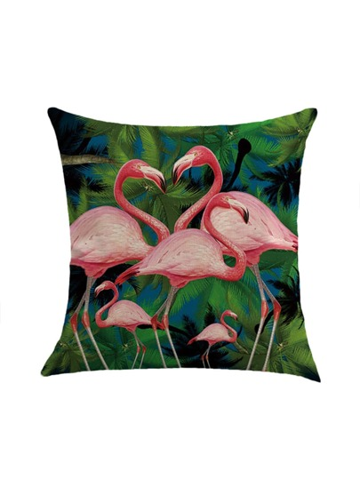 Flamingo & Tree Print Pillowcase Cover