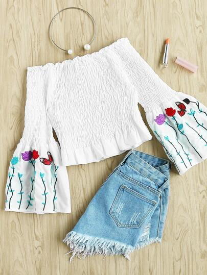 Embroidered Bell Sleeve Smocked Top