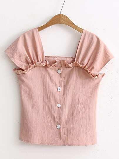 Getrimmte Bluse mit quadratischem Ausschnitt