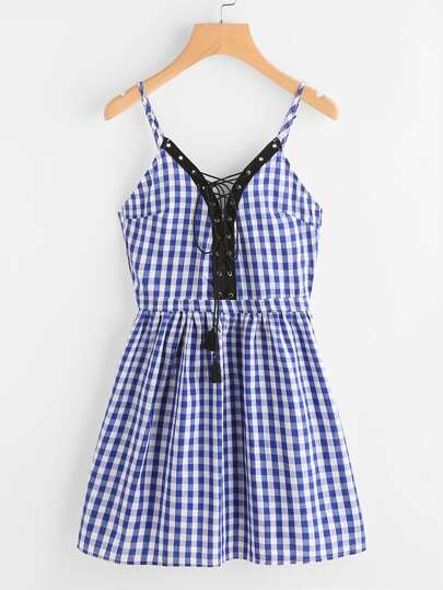 Cami straps Gingham Eyelet Lace Up Dress