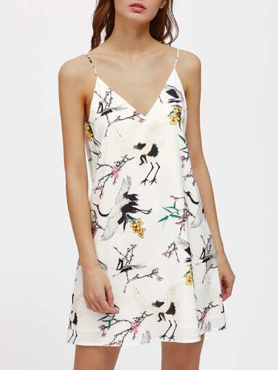 Double V Cut Crane Print Cami Dress