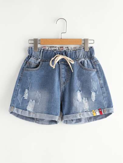 Short con cordón en denim