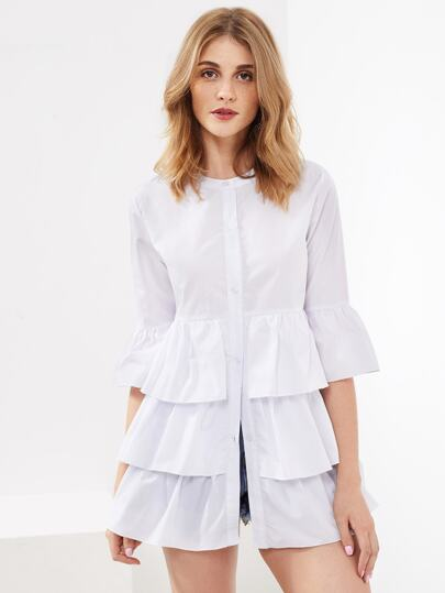 Tiered Frill Trim Flute Sleeve Blouse