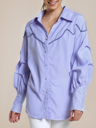 Puffed Sleeve Striped Button Up Shirt LIGHT BLUE