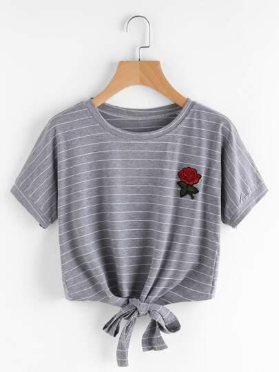 T-shirt mit Rosepatch,Streifen und Knoten vorne