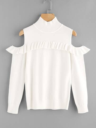 Frilled Cutout Shoulder Jumper