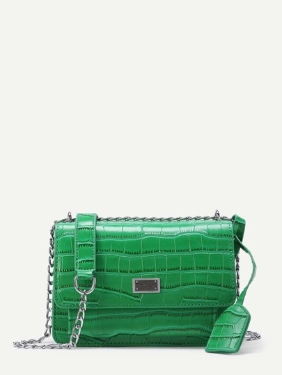 PU Crocodile Print Flap Crossbody Bag