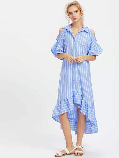 Open Shoulder Fluted Sleeve Frilled Staggered Hem Dress