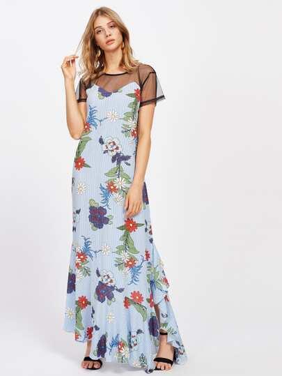 Sheer Mesh Panel Random Florals Frill Hem Striped Dress
