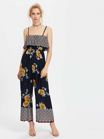Florals Frill Layered Wide Leg Cami Jumpsuit