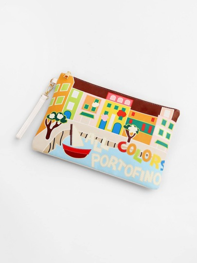 Cartoon Print PU Clutch Bag