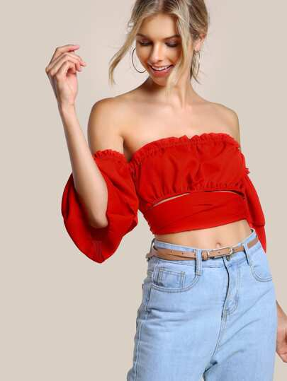 Self Tie Layered Sleeve Crop Bardot Top