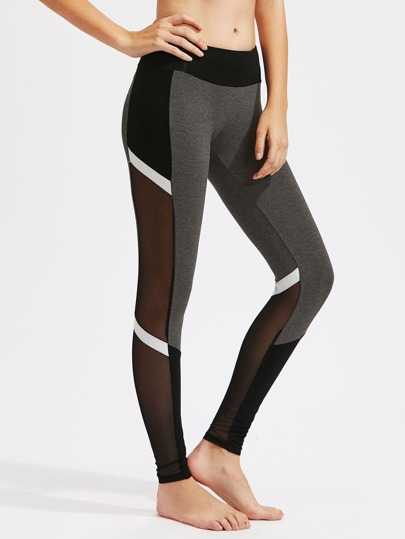 Leggins de malla en color block