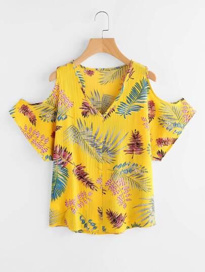 V Neckline Open Shoulder Palm Leaf Print Top