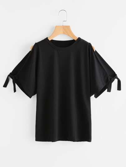 Split Sleeve Tie Cuff T-shirt