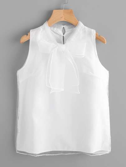 Sheer Mesh Overlay Bow Tie Neck Tank Top