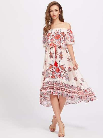 Bardot Floral Print Dress With Fringe