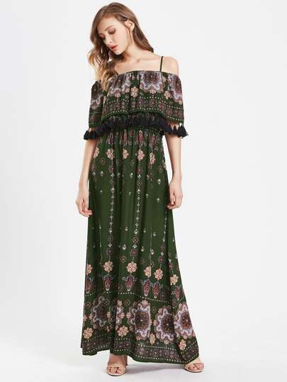 Flower Print Tassel Trim Double Layer Dress