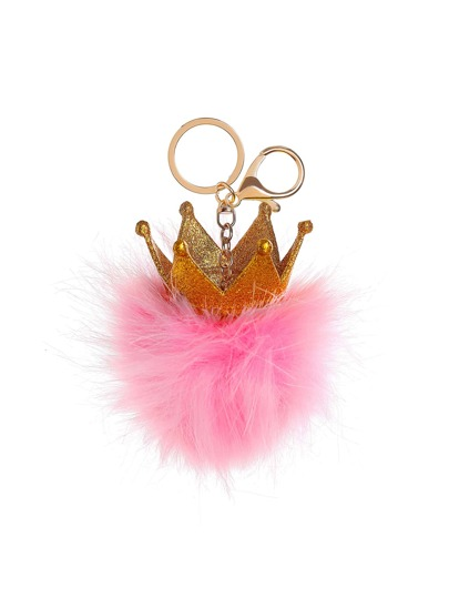 Crown Detail Keychain With Pom Pom
