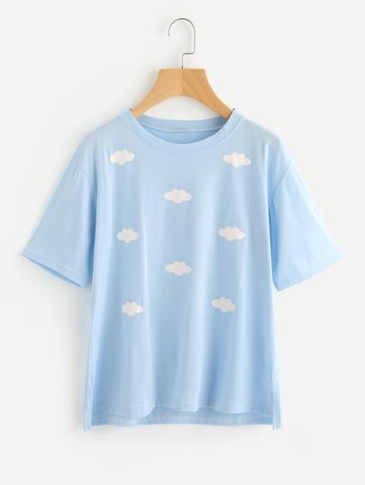 Tee-shirt trapèze imprimé des nuages