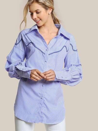 Puffed Sleeve Striped Button Up Shirt LIGHT BLUE