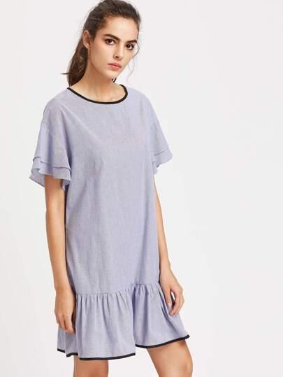 Contrast Binding Drop Shoulder Striped Ruffle Dress