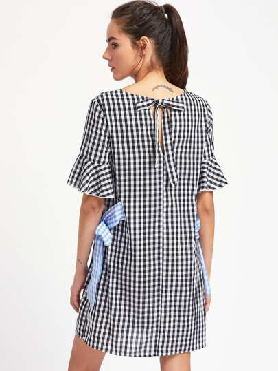 Fluted Sleeve Gingham Dress With Contrast Side Tie