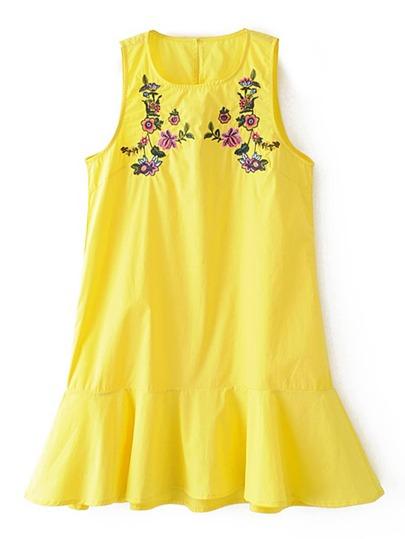 Flower Embroidery Ruffle Hem Tank Dress