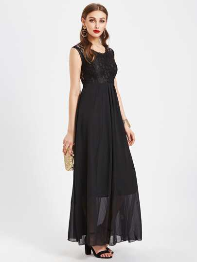 Floral Lace Panel Full Length Chiffon Dress