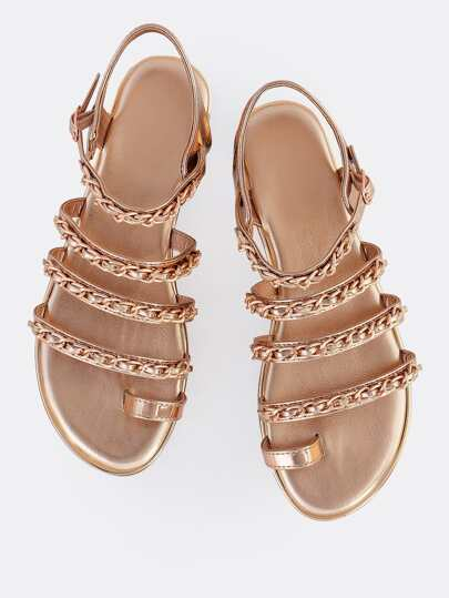Patent Chain Sandals ROSE GOLD