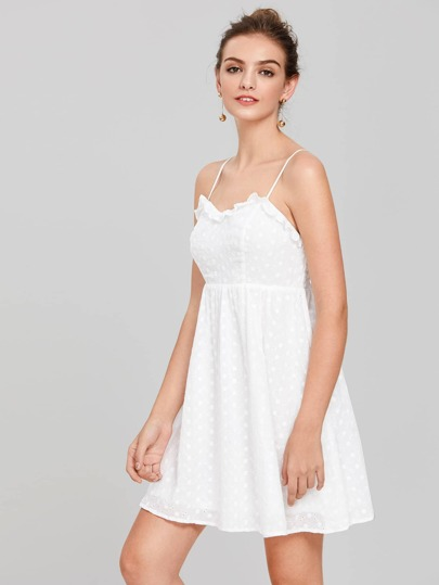 Frill Detail Eyelet Embroidered Cami Dress