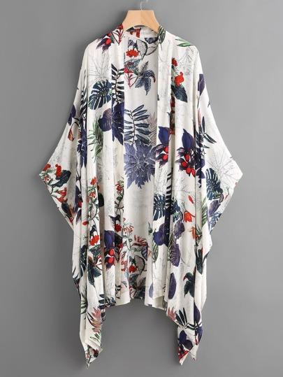 Poncho Kimono imprimé tropical
