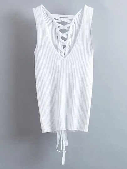 Plunge Lace Up Back Ribbed Tank Top