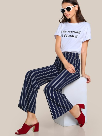 Striped Straight Leg Pants NAVY