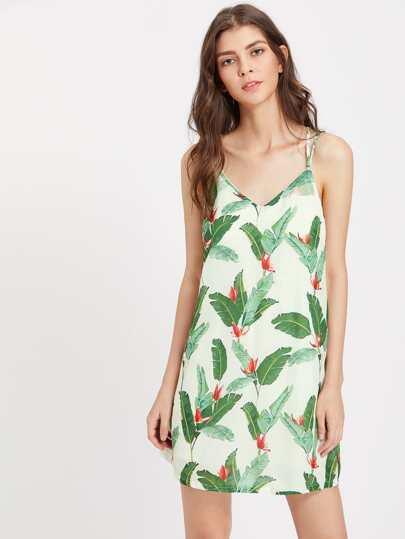 Banana Leaf Print Strappy Back Cami Dress