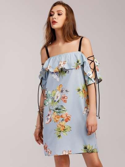 Vestido floral con cordones y volantes