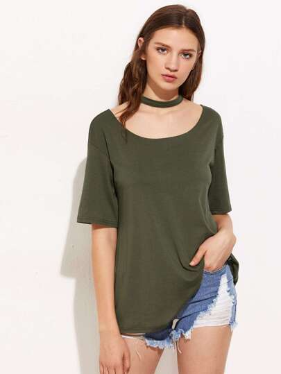 Chock Neckline Drop Shoulder Tee