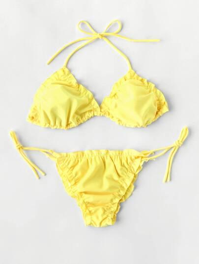 Frill Design Triangle Bikini Set