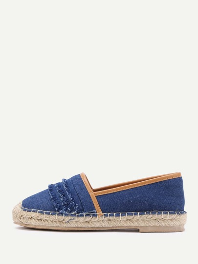 Layered Raw Trim Design Denim Flats